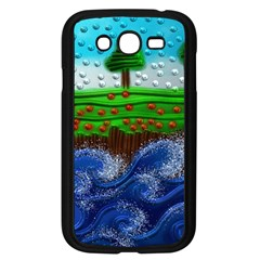 Beaded Landscape Textured Abstract Landscape With Sea Waves In The Foreground And Trees In The Background Samsung Galaxy Grand DUOS I9082 Case (Black)