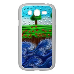 Beaded Landscape Textured Abstract Landscape With Sea Waves In The Foreground And Trees In The Background Samsung Galaxy Grand Duos I9082 Case (white)