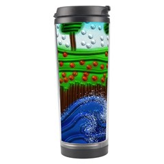 Beaded Landscape Textured Abstract Landscape With Sea Waves In The Foreground And Trees In The Background Travel Tumbler