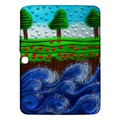 Beaded Landscape Textured Abstract Landscape With Sea Waves In The Foreground And Trees In The Background Samsung Galaxy Tab 3 (10.1 ) P5200 Hardshell Case