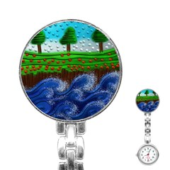 Beaded Landscape Textured Abstract Landscape With Sea Waves In The Foreground And Trees In The Background Stainless Steel Nurses Watch