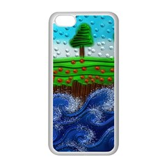 Beaded Landscape Textured Abstract Landscape With Sea Waves In The Foreground And Trees In The Background Apple Iphone 5c Seamless Case (white)