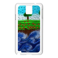 Beaded Landscape Textured Abstract Landscape With Sea Waves In The Foreground And Trees In The Background Samsung Galaxy Note 3 N9005 Case (white)