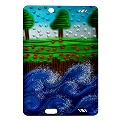 Beaded Landscape Textured Abstract Landscape With Sea Waves In The Foreground And Trees In The Background Amazon Kindle Fire Hd (2013) Hardshell Case