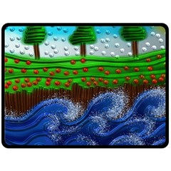 Beaded Landscape Textured Abstract Landscape With Sea Waves In The Foreground And Trees In The Background Double Sided Fleece Blanket (large)