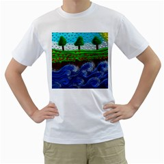 Beaded Landscape Textured Abstract Landscape With Sea Waves In The Foreground And Trees In The Background Men s T-Shirt (White)