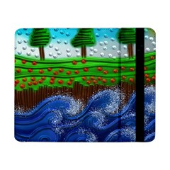 Beaded Landscape Textured Abstract Landscape With Sea Waves In The Foreground And Trees In The Background Samsung Galaxy Tab Pro 8 4  Flip Case