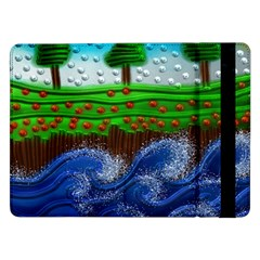 Beaded Landscape Textured Abstract Landscape With Sea Waves In The Foreground And Trees In The Background Samsung Galaxy Tab Pro 12 2  Flip Case