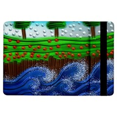 Beaded Landscape Textured Abstract Landscape With Sea Waves In The Foreground And Trees In The Background iPad Air Flip