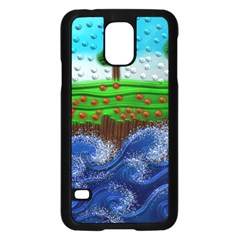 Beaded Landscape Textured Abstract Landscape With Sea Waves In The Foreground And Trees In The Background Samsung Galaxy S5 Case (Black)