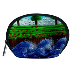 Beaded Landscape Textured Abstract Landscape With Sea Waves In The Foreground And Trees In The Background Accessory Pouches (Medium)