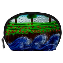 Beaded Landscape Textured Abstract Landscape With Sea Waves In The Foreground And Trees In The Background Accessory Pouches (large)