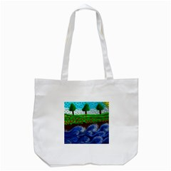 Beaded Landscape Textured Abstract Landscape With Sea Waves In The Foreground And Trees In The Background Tote Bag (white)
