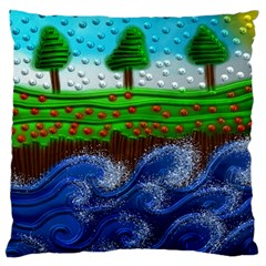 Beaded Landscape Textured Abstract Landscape With Sea Waves In The Foreground And Trees In The Background Standard Flano Cushion Case (Two Sides)