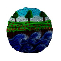 Beaded Landscape Textured Abstract Landscape With Sea Waves In The Foreground And Trees In The Background Standard 15  Premium Flano Round Cushions