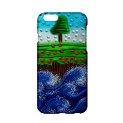 Beaded Landscape Textured Abstract Landscape With Sea Waves In The Foreground And Trees In The Background Apple iPhone 6/6S Hardshell Case