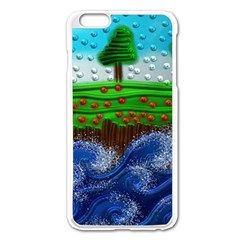 Beaded Landscape Textured Abstract Landscape With Sea Waves In The Foreground And Trees In The Background Apple Iphone 6 Plus/6s Plus Enamel White Case