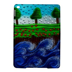 Beaded Landscape Textured Abstract Landscape With Sea Waves In The Foreground And Trees In The Background Ipad Air 2 Hardshell Cases