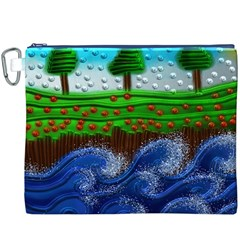 Beaded Landscape Textured Abstract Landscape With Sea Waves In The Foreground And Trees In The Background Canvas Cosmetic Bag (XXXL)