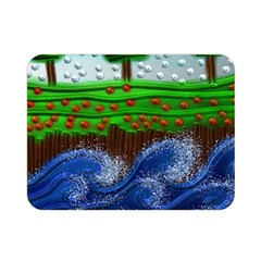 Beaded Landscape Textured Abstract Landscape With Sea Waves In The Foreground And Trees In The Background Double Sided Flano Blanket (Mini)