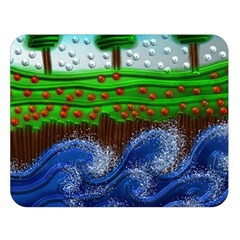 Beaded Landscape Textured Abstract Landscape With Sea Waves In The Foreground And Trees In The Background Double Sided Flano Blanket (Large)