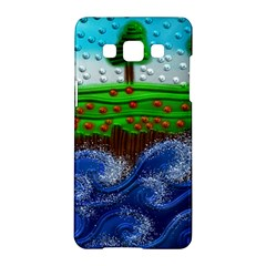 Beaded Landscape Textured Abstract Landscape With Sea Waves In The Foreground And Trees In The Background Samsung Galaxy A5 Hardshell Case