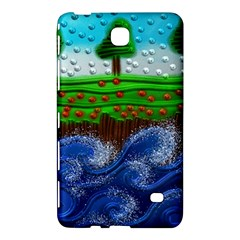 Beaded Landscape Textured Abstract Landscape With Sea Waves In The Foreground And Trees In The Background Samsung Galaxy Tab 4 (7 ) Hardshell Case