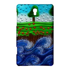 Beaded Landscape Textured Abstract Landscape With Sea Waves In The Foreground And Trees In The Background Samsung Galaxy Tab S (8.4 ) Hardshell Case