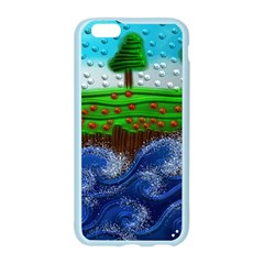 Beaded Landscape Textured Abstract Landscape With Sea Waves In The Foreground And Trees In The Background Apple Seamless iPhone 6/6S Case (Color)