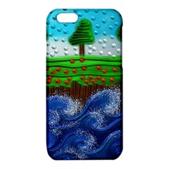 Beaded Landscape Textured Abstract Landscape With Sea Waves In The Foreground And Trees In The Background iPhone 6/6S TPU Case