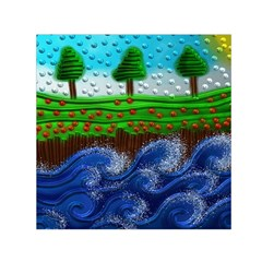 Beaded Landscape Textured Abstract Landscape With Sea Waves In The Foreground And Trees In The Background Small Satin Scarf (Square)