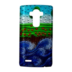 Beaded Landscape Textured Abstract Landscape With Sea Waves In The Foreground And Trees In The Background LG G4 Hardshell Case