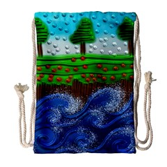 Beaded Landscape Textured Abstract Landscape With Sea Waves In The Foreground And Trees In The Background Drawstring Bag (Large)
