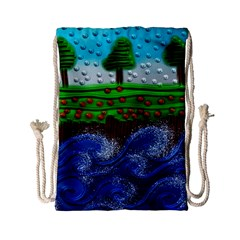 Beaded Landscape Textured Abstract Landscape With Sea Waves In The Foreground And Trees In The Background Drawstring Bag (Small)