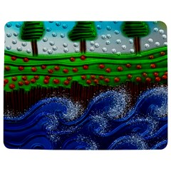Beaded Landscape Textured Abstract Landscape With Sea Waves In The Foreground And Trees In The Background Jigsaw Puzzle Photo Stand (rectangular)