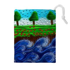Beaded Landscape Textured Abstract Landscape With Sea Waves In The Foreground And Trees In The Background Drawstring Pouches (Extra Large)