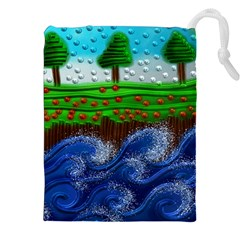 Beaded Landscape Textured Abstract Landscape With Sea Waves In The Foreground And Trees In The Background Drawstring Pouches (XXL)