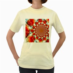 Stylish Background With Flowers Women s Yellow T Shirt