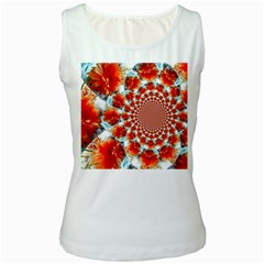 Stylish Background With Flowers Women s White Tank Top