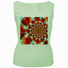 Stylish Background With Flowers Women s Green Tank Top