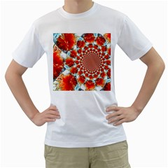 Stylish Background With Flowers Men s T Shirt (white) (two Sided)