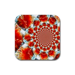 Stylish Background With Flowers Rubber Coaster (square)