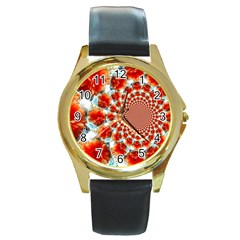 Stylish Background With Flowers Round Gold Metal Watch