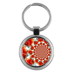 Stylish Background With Flowers Key Chains (Round)