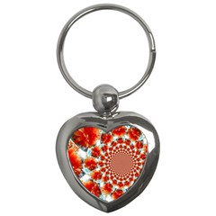 Stylish Background With Flowers Key Chains (Heart)