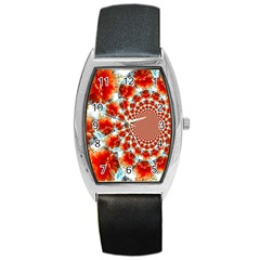 Stylish Background With Flowers Barrel Style Metal Watch