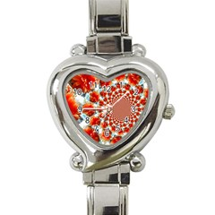 Stylish Background With Flowers Heart Italian Charm Watch
