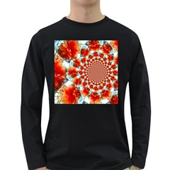 Stylish Background With Flowers Long Sleeve Dark T-Shirts
