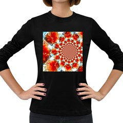 Stylish Background With Flowers Women s Long Sleeve Dark T-Shirts