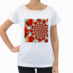 Stylish Background With Flowers Women s Loose-Fit T-Shirt (White)